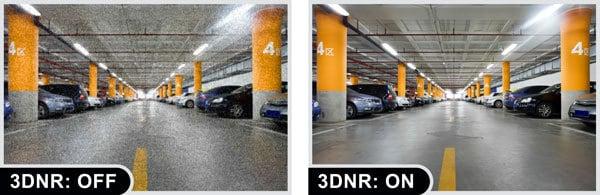 Immagine di esempio con noise reduction attivata e disattivata.