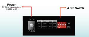 VC-232G vista posteriore: alimentazione e 4 DipSwitch per configurazione
