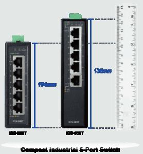 Immagine dello Switch industriale IGS-500T, altezza sole 104 millimetri, ben 3 centimetri in mendo del IGS501T